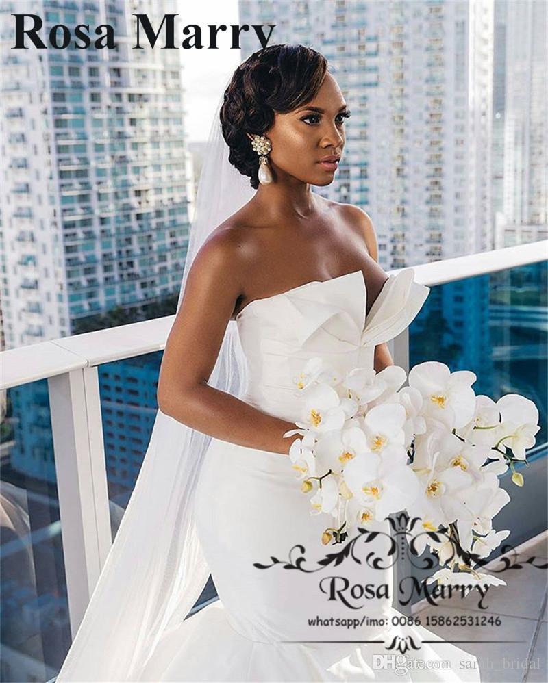아랍어 디자인 인어 아프리카 웨딩 드레스 대성당 기차 2019 플러스 크기 주름 장식 Tulle 나이지리아 트럼펫 신부 드레스 Vestido De Noiva