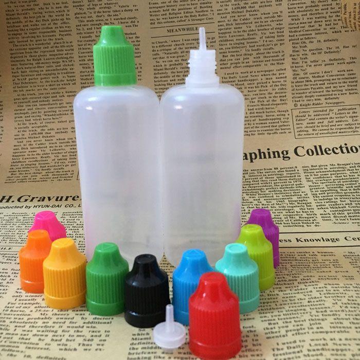 Rápido envío de DHL 100ml PE E botellas vacías líquidos Botellas de plástico blando con cuentagotas Cápsulas prueba de niños fina larga de TIPS E Cig