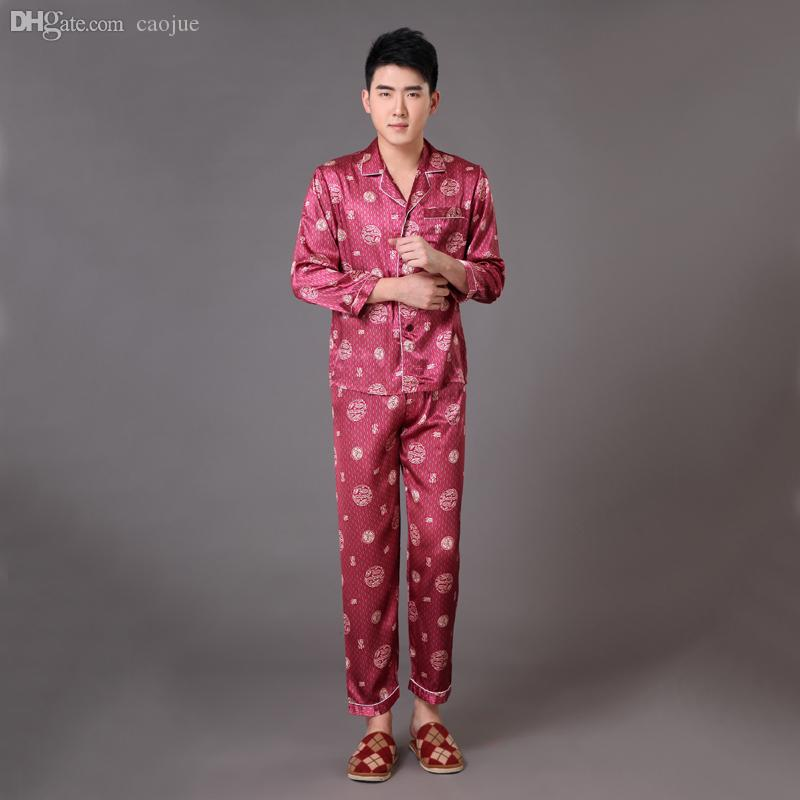 5d70f8e285 Wholesale-New Arrival Chinese Men s Pajama Set Satin Long Sleeve ...