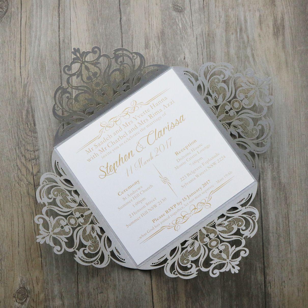 4 Fold Wedding Invitations Cards Silver Paper Laser Cutting Wedding  Invitation Flowers Hollow Wedding Cards Fast Wedding Invitations Free Wedding  Invitation ...