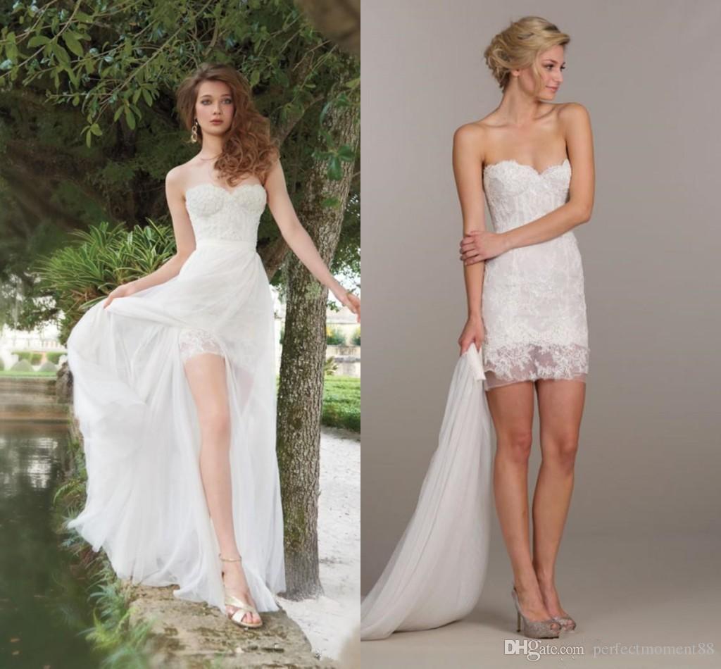 Elegant Two Pieces Lace Arab Wedding Dress Sheath 2017: Discount Arabic Two Piece Ivory Lace A Line Wedding
