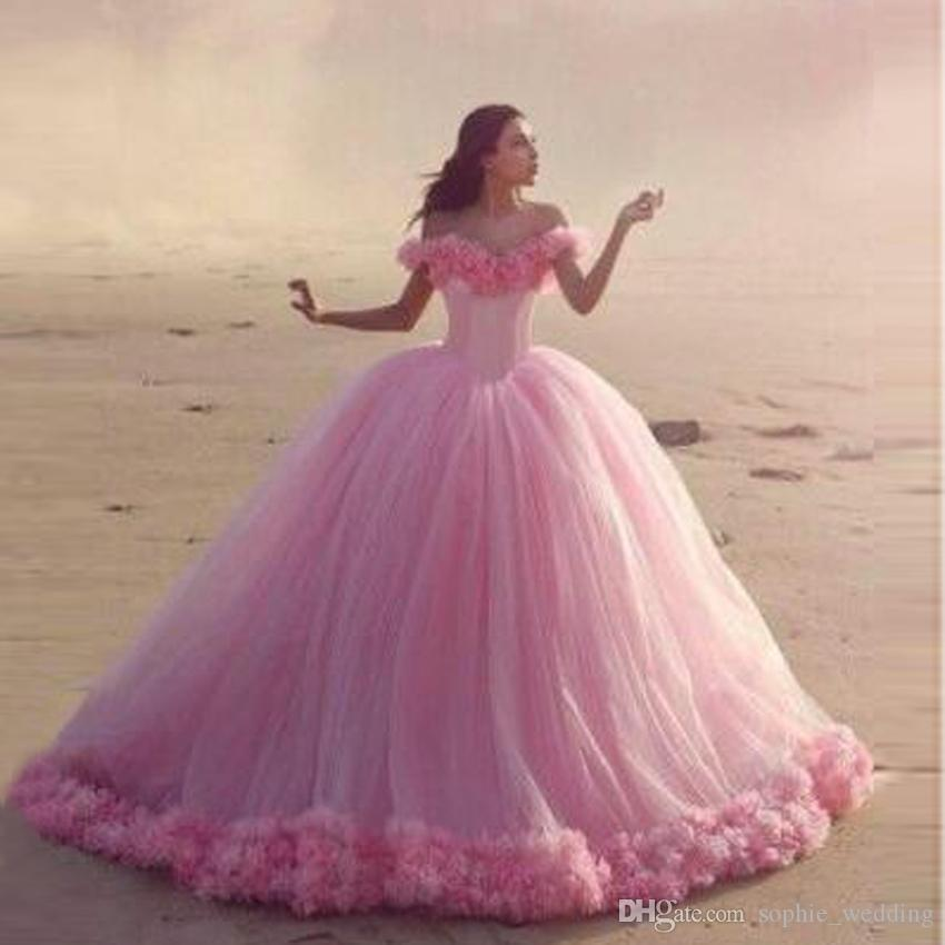Discount Pink Tulle Ball Gown Wedding Dresses 2017 Big Train Brides ...