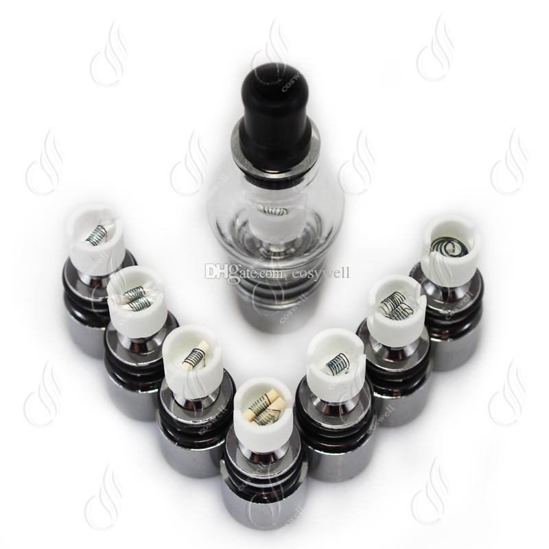 Tanque de vidrio para cera hierba seca vaporizador e cigarro hierba seca clearomizador atomizador de vidrio con bobina de metal para la batería de la serie ego