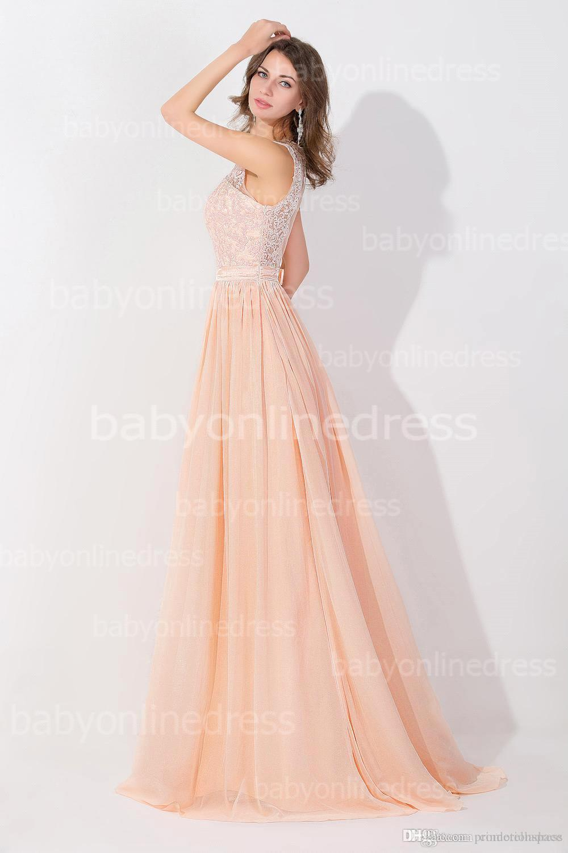 복숭아 핑크 긴시 폰 저렴한 댄스 파티 드레스 2016 레이스 리얼 이미지 백 레이스 쉬어 롱 이브닝 가운 재고 신부 들러리 드레스