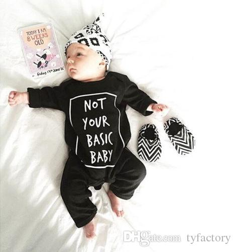 fashion boys rompers Newborn Baby Boy Girl Long Sleeve cotton Bodysuit not your basic baby homorous words print Outfit kids Costume Clothes