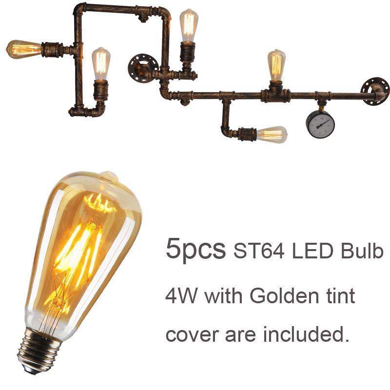 물 파이프 LED 조명 조명 벽 램프 Sconces 실내 인테리어 빈티지 레트로 장식을위한 필라멘트 LED 전구 브라운 블랙 셸