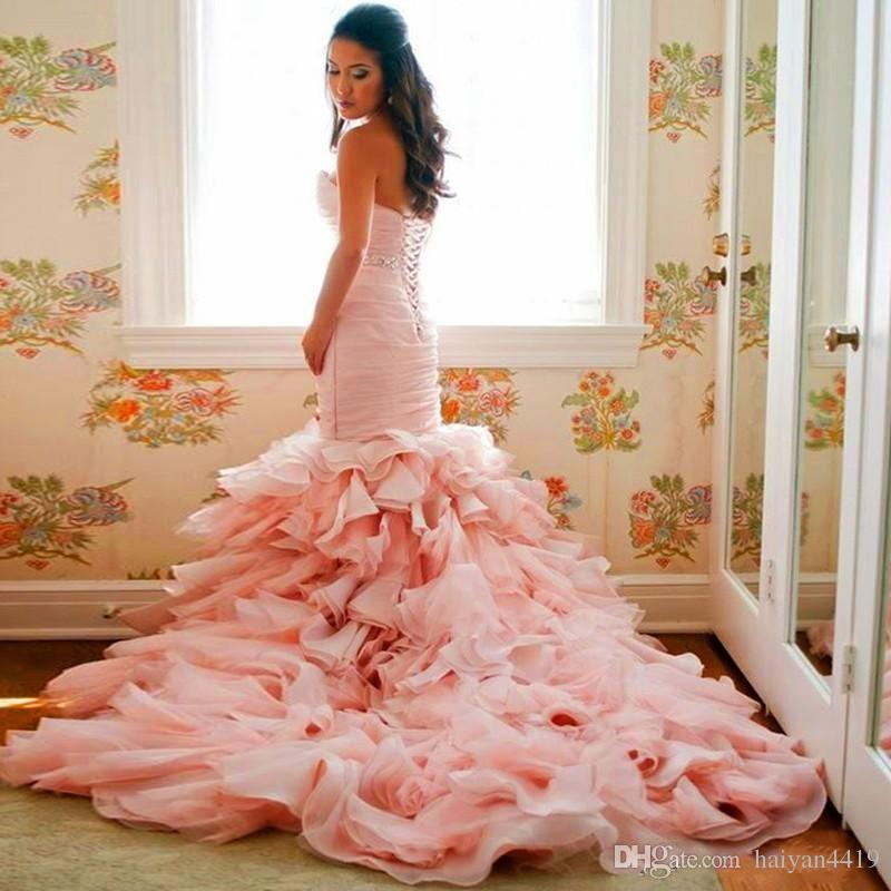 2016 New Blush Pink Mermaid Wedding Dresses Sweetheart Crystal Beaded Belt Court Train Tiered Ruffles Organza Plus Size Formal Bridal Dress