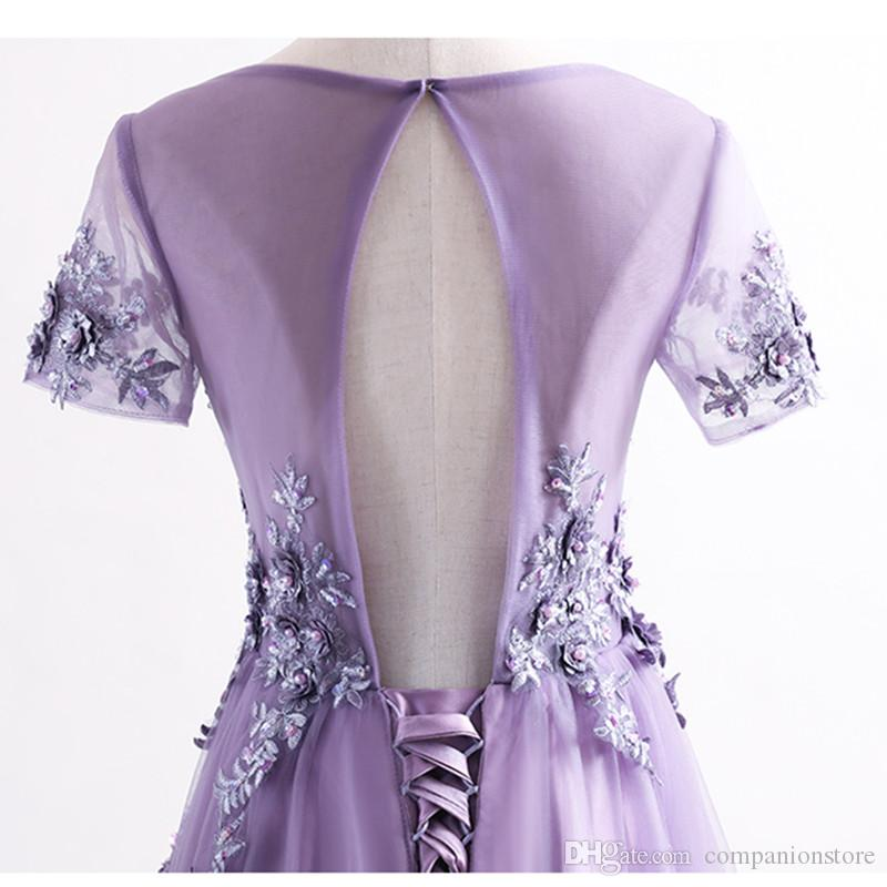 In Stock Purple Tulle With Appliques Scoop Neck Short Sleeve Backless Lace Up Floor Length A-Line Long Prom Dresses Onepiece Vestido largo