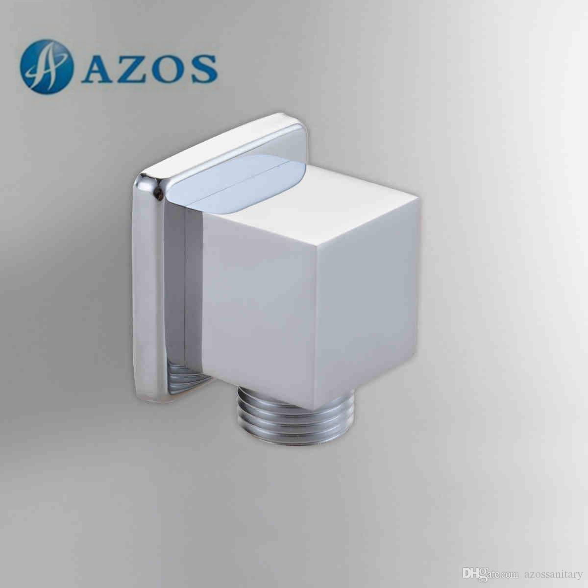 2018 azos hand held shower faucet connector solid brass chrome polish in wall outlet connection bathroom accessories toilet set azpj002 from azossanitary