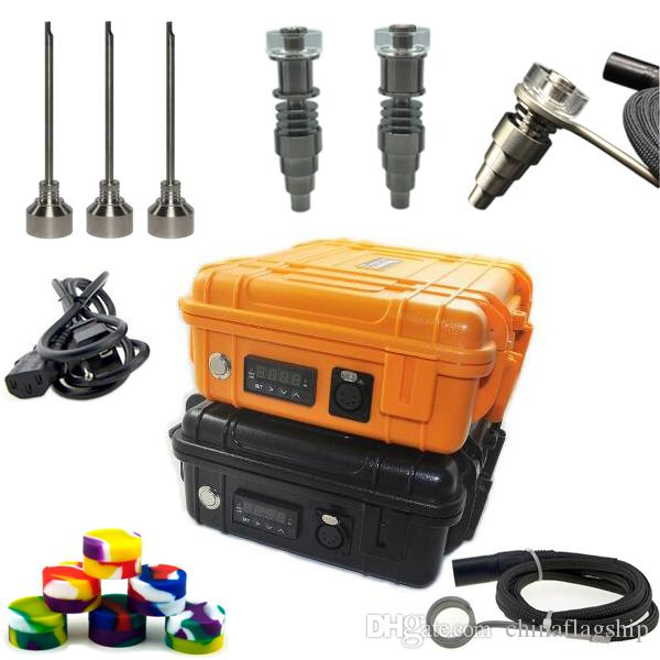 DHL free Portable Electric Digital Nail Kit with Fit flat 10mm&16mm&20mm heater coil Ti/Qtz hybrid Nail for oil rig galss bong
