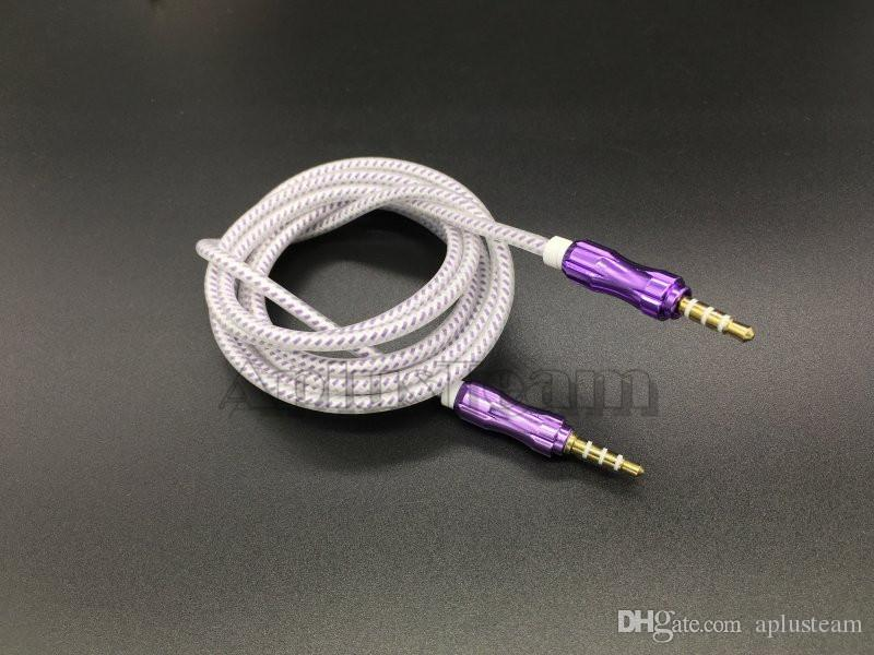 1.5M Braided Woven 3.5mm Stereo Extended Crytal Aluminium Alloy AUX Auxiliary Male to Male Audio Cable for iphone 6S Samsung S7 MP3 Speaker