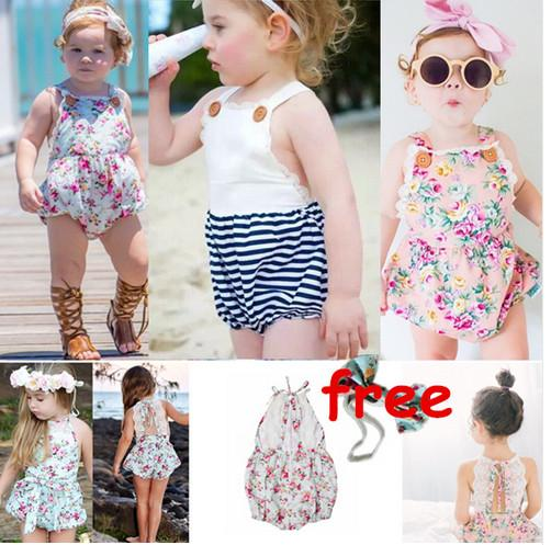 fd66e50b452 2019 Summer Babies Romper Ins Hot Baby Girl Print Flower Rompers Cute  Floral Stripe Jumpsuits +Headband Overalls Infant Toddler Bodysuits A7952  From ...