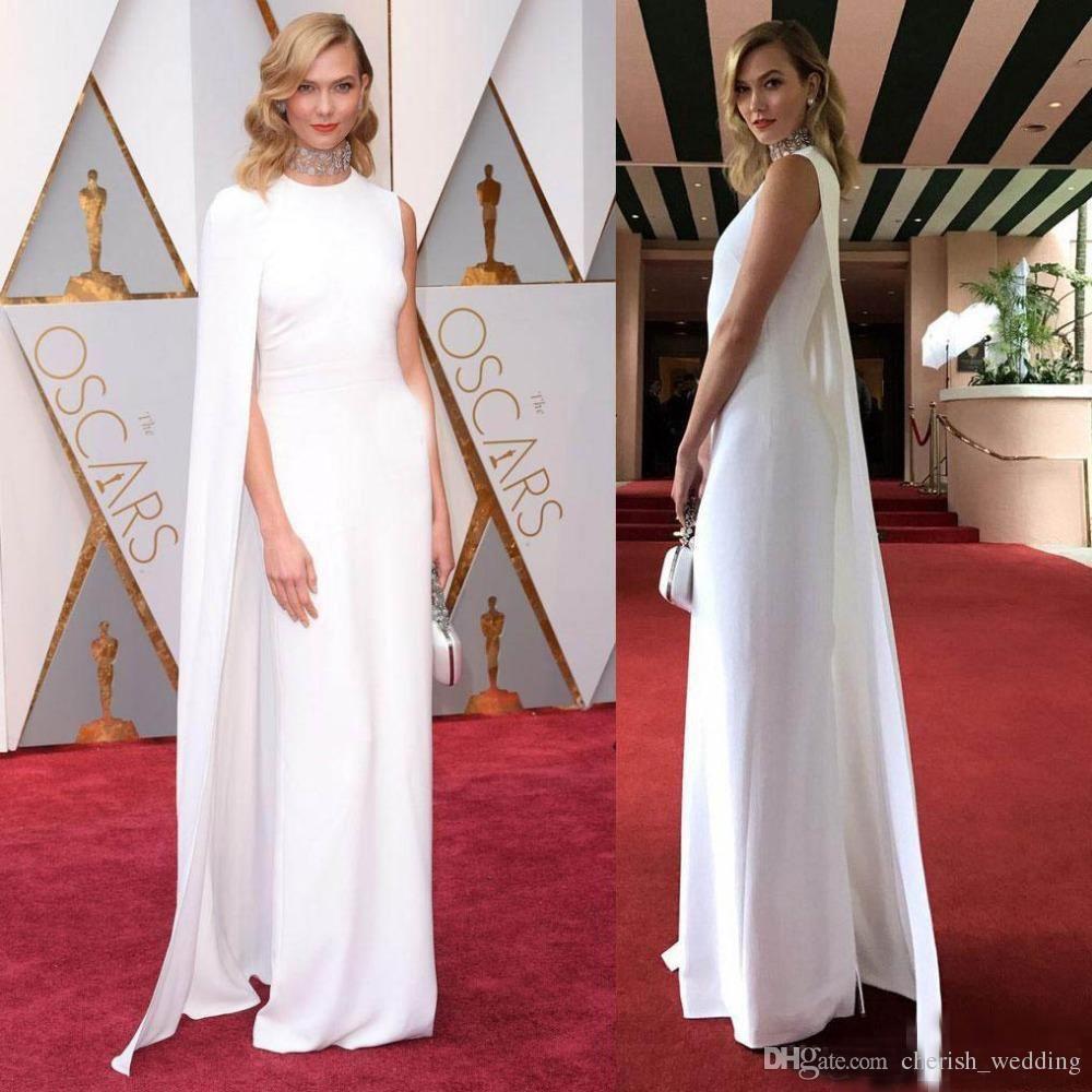 4efd2d7e217 Elegant Oscar Celebrity Evening Dresses White Satin With Cape Jewel Neck  Sheath Formal Long Plus Size Red Carpet Dresses Prom Party Gown Plus Size  Evening ...