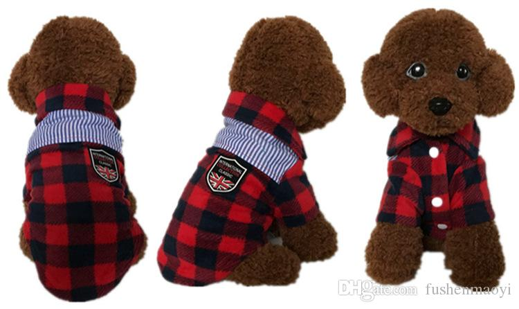 Cheap Pet small dog fall winter checkered clothes plaid shirts new styles dog sweater pet supplies wholesale