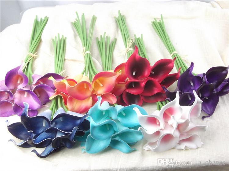 Hot sale artificial Flowers 9 pieces/lot Mini Purple in White Calla Lily Bouquets for Bridal Wedding Bouquet Decoration Fake Flower