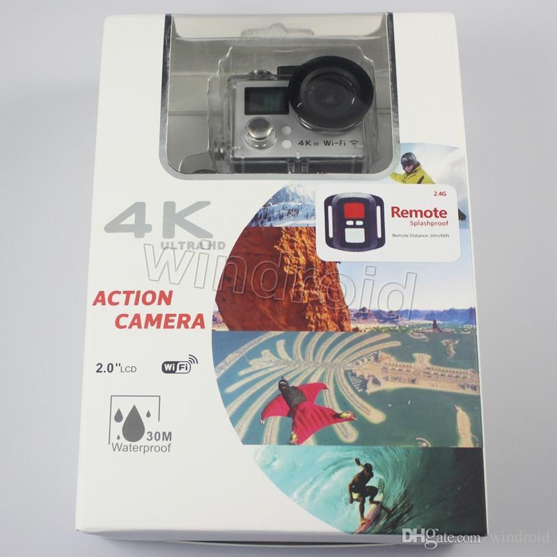M8 Allwinner V3 Ultra 4K HD 2 inch 170° HDMI WIFI Action Cameras Dual Screen Waterproof Sports Camera + Remote Control DV DVR + retail box 5