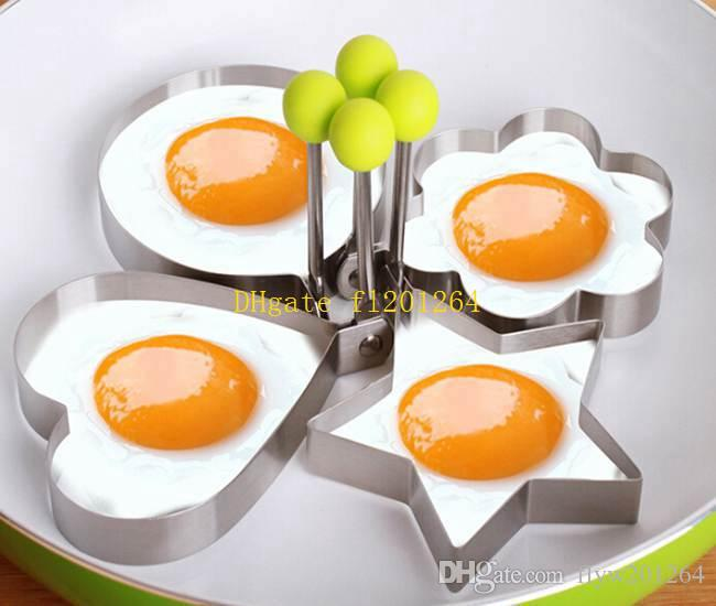 Fast Shipping Wholesale Cook Fried Egg Pancake Stainless Steel Heart Shaper Mould Mold Kitchen Tool Rings