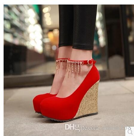 hot!spring autumn NEW Women shoes diamond sexy Ultra high with wedge bottom of the thick Waterproof platform Wedding bride shoes Women shoes