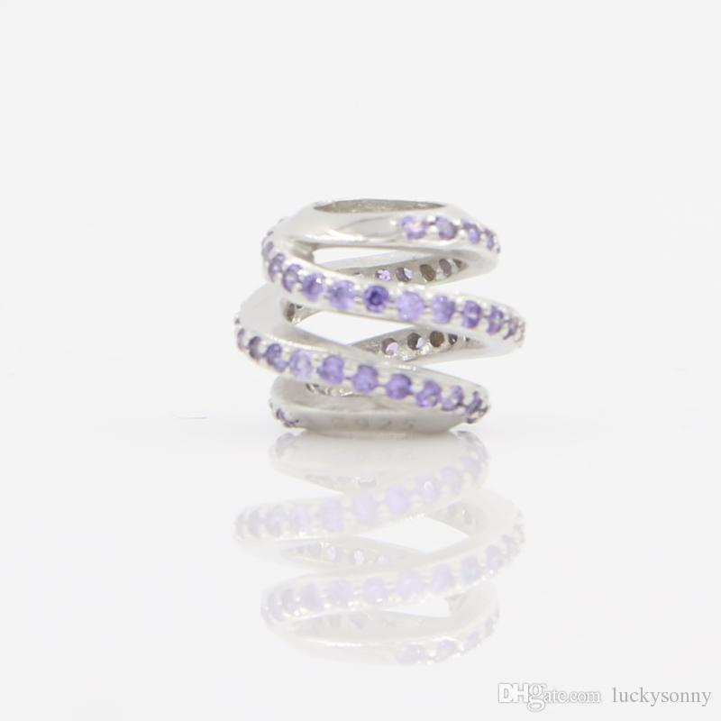 1a2d1c706d28 Compre Silver Bead S925 Silver Charm Beads Fit Pandora Original Charm  Bracelet Con Piedra Púrpura Twister Bead Encanto Europeo Joyería De DIY  Para Las ...