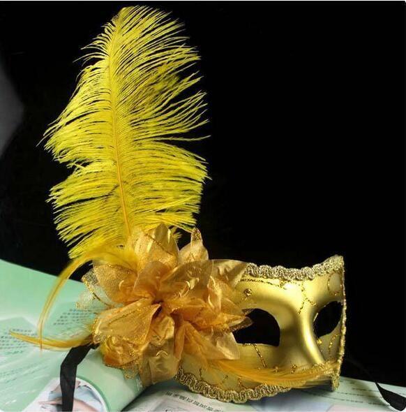 Halloween mask best-selling paragraph flat headband side flower an ostrich feather catwalk show fun mask