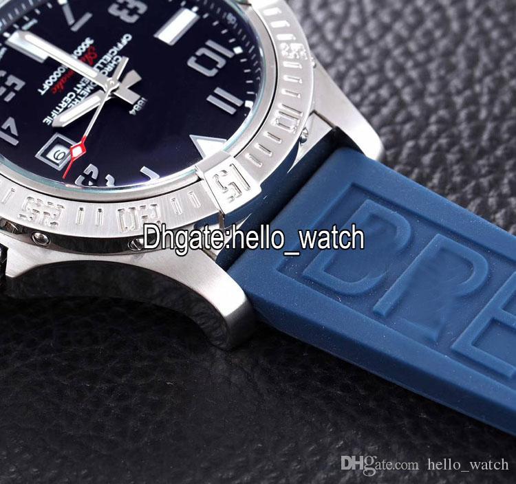 Ucuz Yeni II Seawolf A1733110 Siyah Arama Otomatik Erkek İzle Çelik Kılıf Mavi Kauçuk Kayış Kıyıları Spor Saatler Yüksek Kalite Hello_Watch