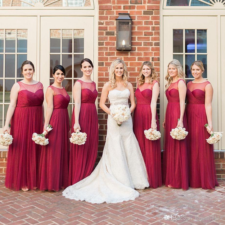 6421bfcd938 2016 Cheap Burgundy Bridesmaid Dresses Jewel Neck Illusion Tulle Long  Summer Beach Hollow Back Plus Size Wedding Maid Of Honor Bridal Gowns  Bridesmaid Dress ...