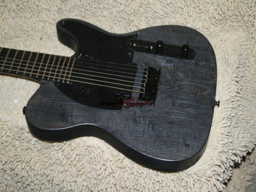 Custom 7 cuerdas guitarra eléctrica negro cuello de una pieza ébano diapasón guitarra eléctrica de China HOT OEM guitarra