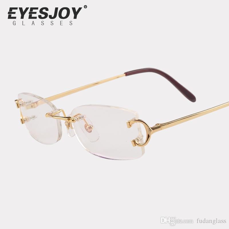 Eyeglasses Metal Glasses Rimless Frame For Men Women Gold Reading ...