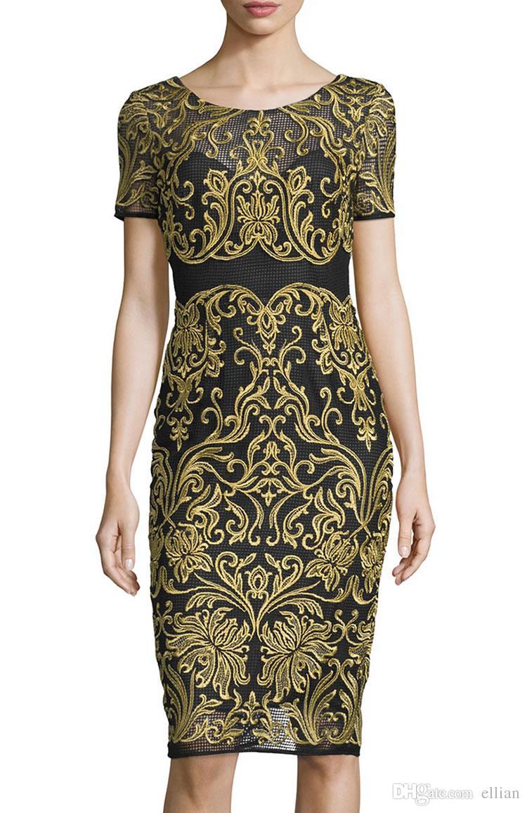 Винтаж вышивка женщины платье с коротким рукавом платья 074A678