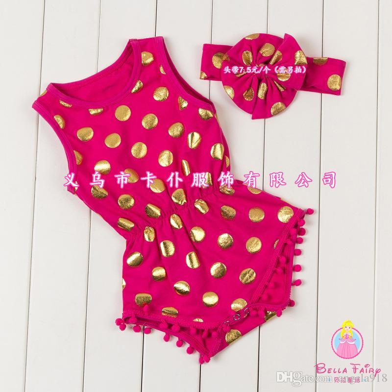 Bebé niña FOIL GOLD mameluco pokadot de dibujos animados mamelucos ropa para monos recién nacidos ropa de bebé con diadema 2 unids / lote E982