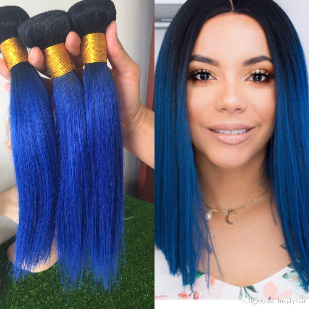 Dark Root 1b Blue Ombre Color Two Tone Hot Human Blue Hair Extension