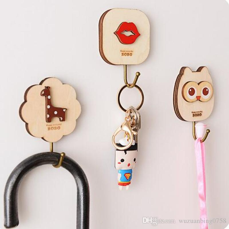 6pcs Creative cute cartoon wooden wall hooks Self Adhesive Seamless Door  Sticky Hanger key holder organizer home decor