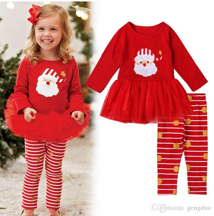 2018 Toddler Girls Christmas Outfits Red Tutu Shirt+Stripe Leggings ...