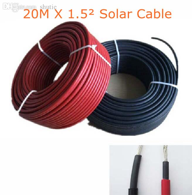 Wholesale-20m1.5mm^2 PV Cable 16AWG Solar Power Cable Solar Panel ...
