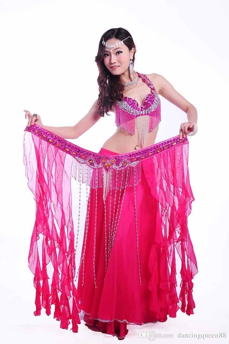 Nuevo traje de danza del vientre Set 3 piezas sujetador + falda + cinturón Traje Danza del Vientre Ropa Bellydance Profesional envío gratuito