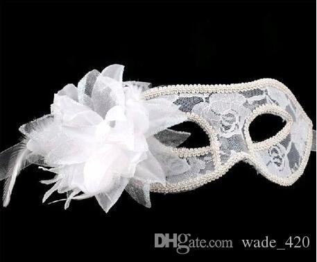 hot sale sexy Black white red Women Feathered Venetian Masquerade Masks for a masked ball Lace Flower Masks