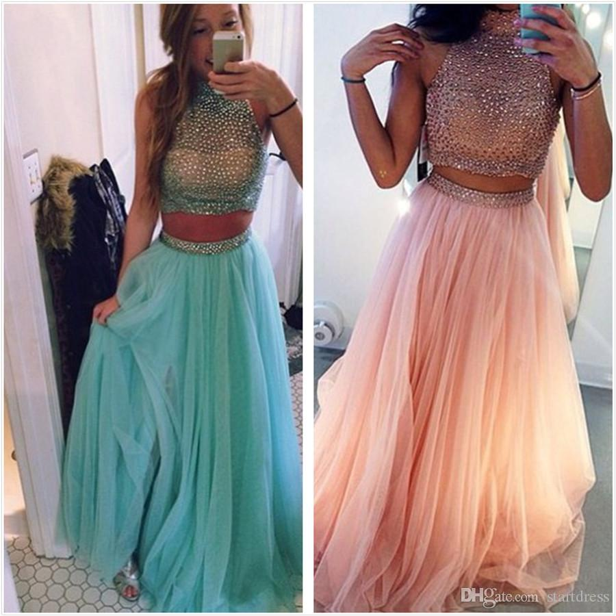 Hot Sale Blue Peach Two Piece Prom Dresses Beaded Tulle Formal ...