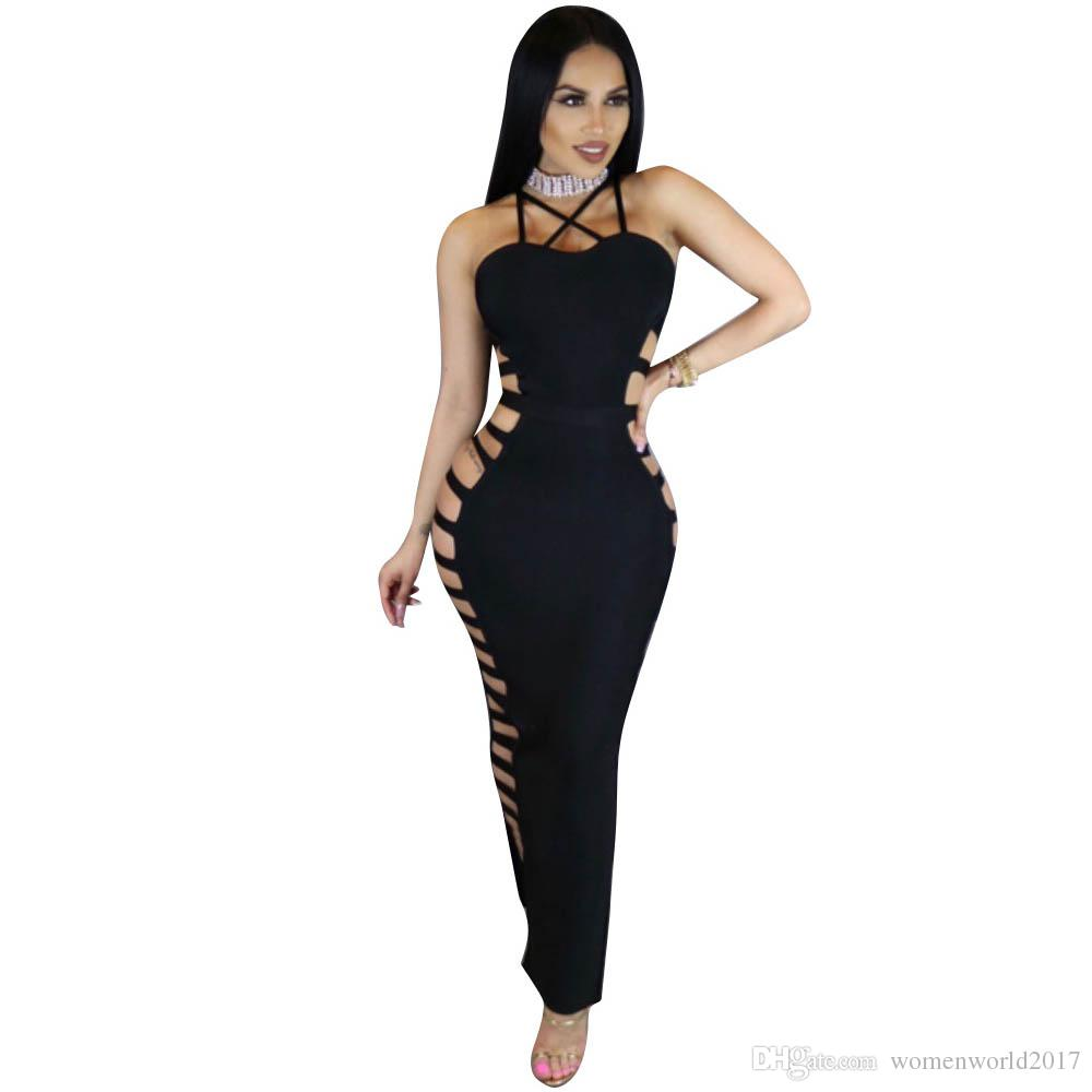 44bfb522c57 2017 Summer Hollow Out Long Maxi Dress Sexy Halter Backless Off ...