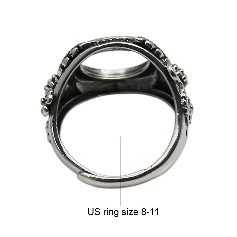 Beadsnice adjustable 925 sterling silver vintage ring setting for 12mm round gemstone large ring cabochon setting ID 33759