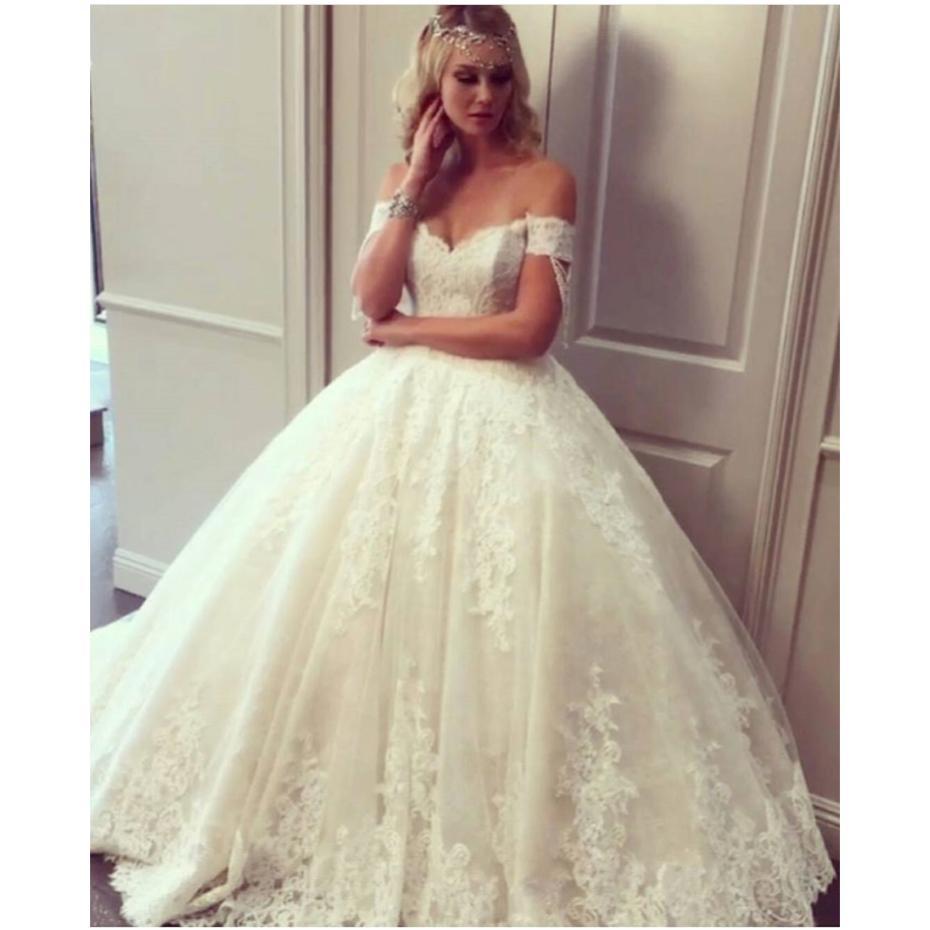 2021 vestido de bola blanca Iovry cordón de los vestidos de boda apliques de encaje transparente de tul rebordear vestidos de novia de cuello redondo más el tamaño de vestidos de boda formales