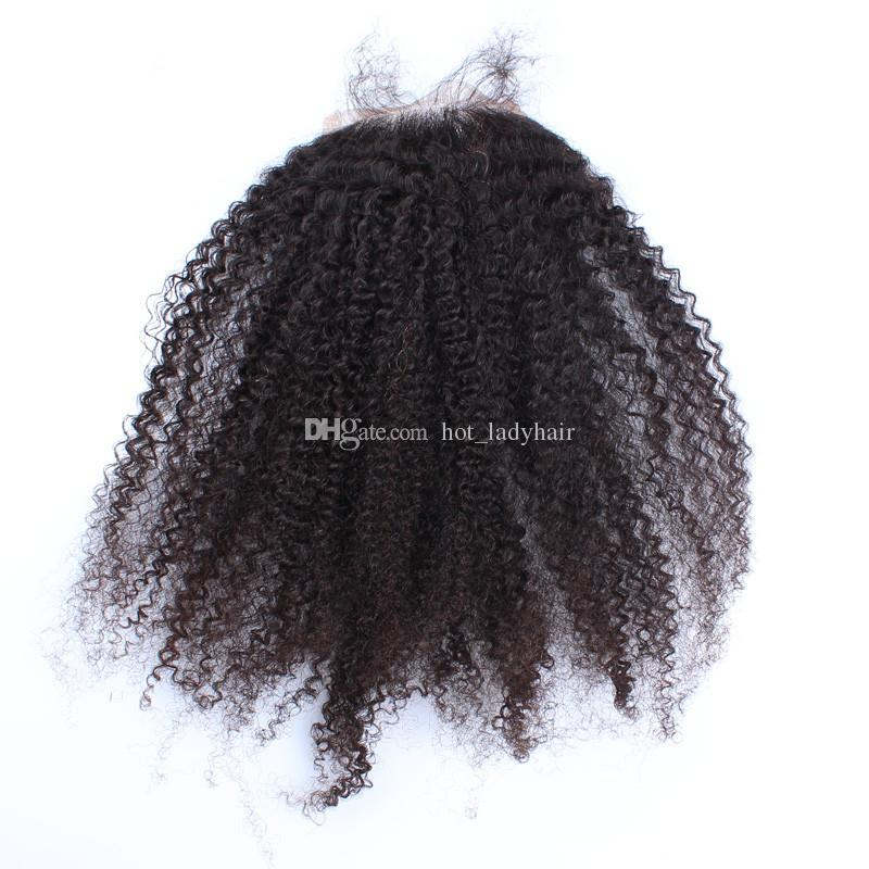 8A Peruvian Afro Kinky Curly Hair With Closure Human Hair Weave 3 Bundles With Closure Kinky Curly Peruvian Hair With Closure