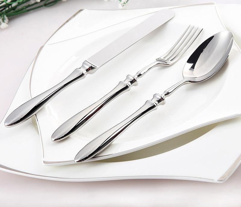lekoch stainless steel flatware set dinner spoon knife fork cutlery set dinnerware with bone shape handle lf dinnerware sets for 8 dinnerware - Stainless Steel Flatware