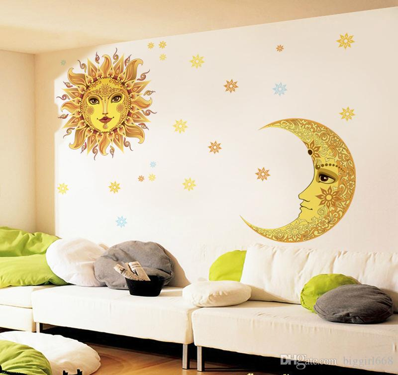 New Arrival Sun And Moon Wall Stickers Diy Removable Wall - Wall decals 2016