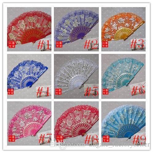 Gül Plastik Çerçeve Dantel Ipek El Fan Çin Zanaat Dans Katlanır Fan 15 Renkler 100 adet / grup