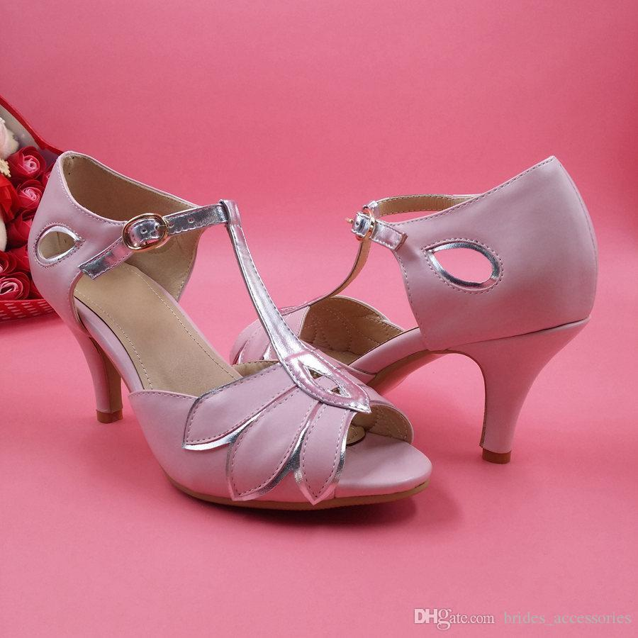 Blush Pink Wedding Shoes Women Pumps Mid High Heel T Straps Buckle ...