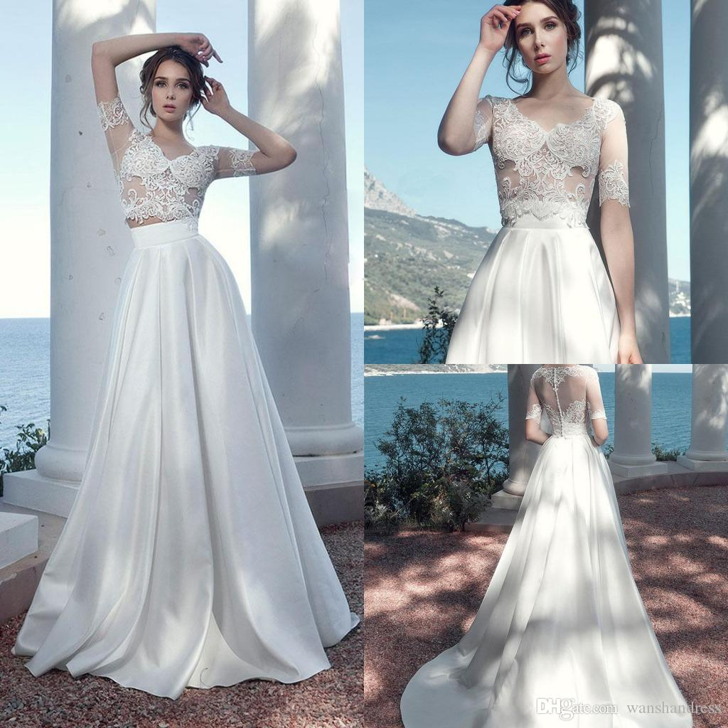 Compre 2018 Chic Línea A Línea Appliques Dos Piezas Beach Wedding ...