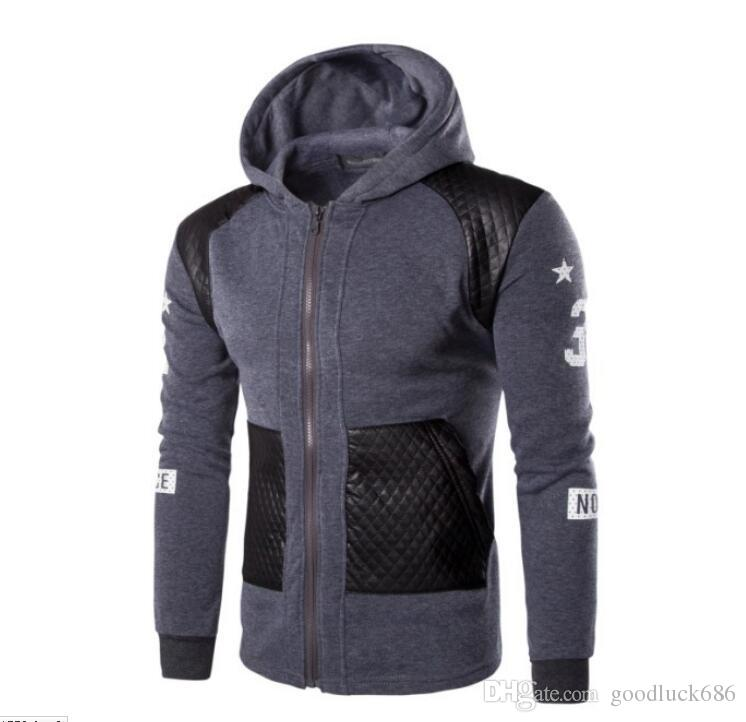 Spring 2016 men's fashion casual men's solid color hooded sweater coat W47