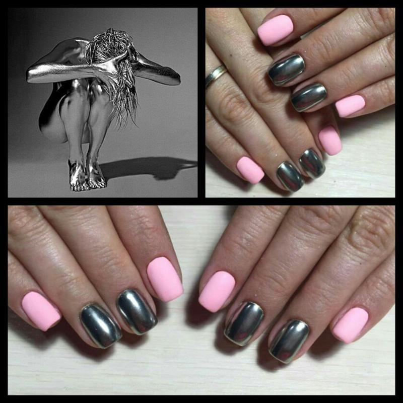 Wholesale Hot!2 Box Mirror Chrome Nails Powder Metallic Silver ...