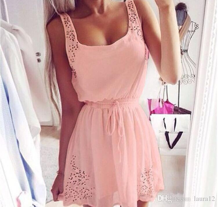 Summer Casual Dress Pink White Chiffon Hollow out Strap neck A line Short Women Dress Cheap Women Clothing In Stock 2016