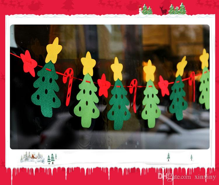 hot sale Christmas decorations Christmas decoration hanging flag non-woven Merry Christmas flag pull cloth fabric window flags 3 meters long